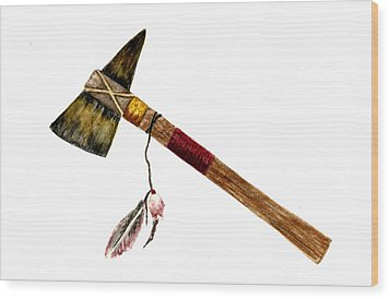 Native American Tomahawk Wood Print by Michael Vigliotti