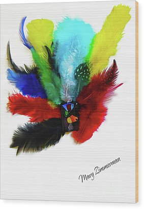 Native American Tribal Feathers Wood Print