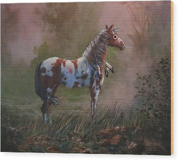 Native American War Pony Wood Print by Tom Shropshire