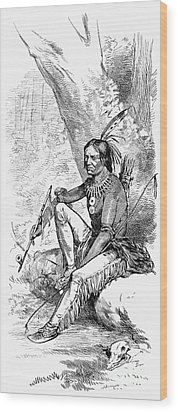 Native American With Pipe Wood Print by Granger