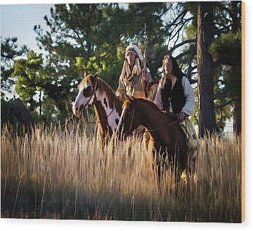 Native Americans On Horses In The Morning Light Wood Print by Nadja Rider