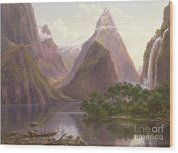 Native Figures In A Canoe At Milford Sound Wood Print by Eugen von Guerard