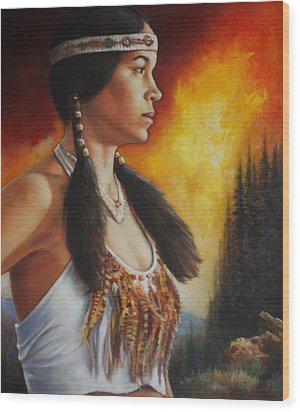 Wood Print featuring the painting Native Pride by Harvie Brown