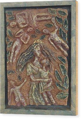 Natividad 2 Wood Print by Lorna Diwata Fernandez