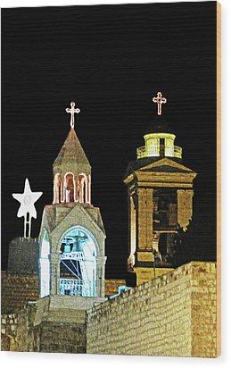 Wood Print featuring the photograph Nativity Church Lights by Munir Alawi