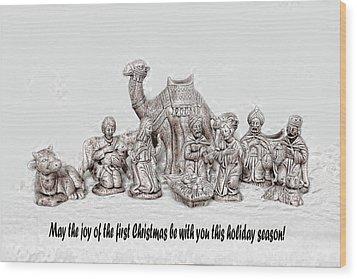 Nativity Scenne Sketch Wood Print by Linda Phelps