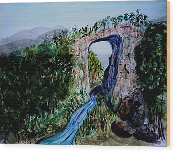 Wood Print featuring the painting Natural Bridge In Virginia by Donna Walsh