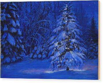 Natural Christmas Tree Wood Print by Susan Jenkins