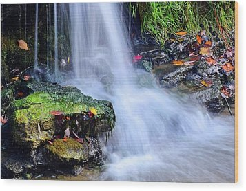 Wood Print featuring the photograph Natural Flowing Water by Frozen in Time Fine Art Photography