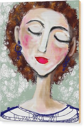 Wood Print featuring the digital art Natural Redhead by Elaine Lanoue