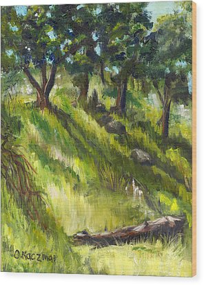 Nature Center Log Wood Print by Olga Kaczmar
