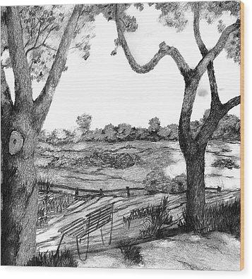 Nature Sketch Wood Print