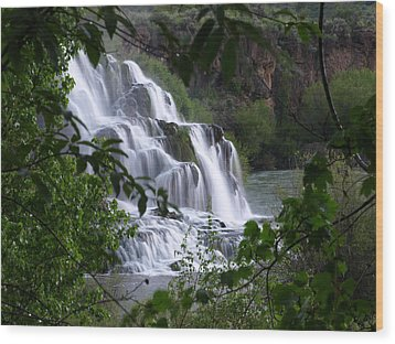 Nature's Framed Waterfall Wood Print