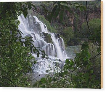 Nature's Framed Waterfall Wood Print by DeeLon Merritt
