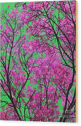 Natures Magic - Pink And Green Wood Print by Rebecca Harman