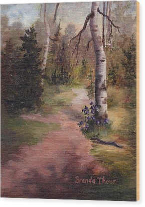 Wood Print featuring the painting Natures' Trail by Brenda Thour