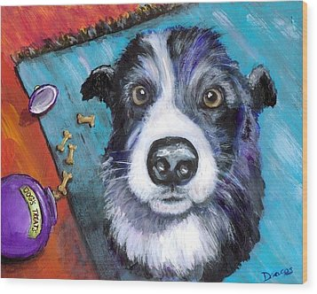 Naughty Border Collie Wood Print by Dottie Dracos