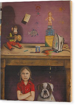 Naughty Child Wood Print by Leah Saulnier The Painting Maniac