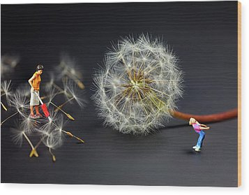 Wood Print featuring the painting Naughty Girl Playing Dandelion Little People Big World by Paul Ge