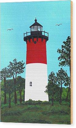Nauset Lighthouse Tower Painting Wood Print by Frederic Kohli