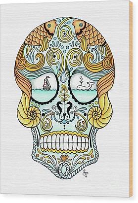 Nautical Sugar Skull Wood Print