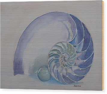 Nautilus With Marble Wood Print by Jenny Armitage