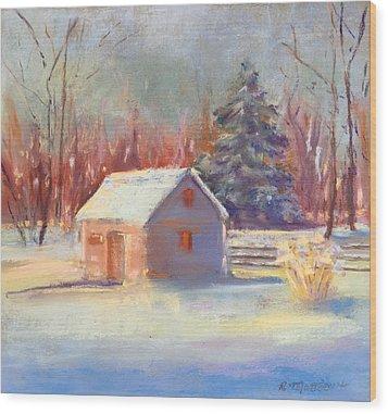 Wood Print featuring the pastel Nauvoo Winter Scene by Rebecca Matthews