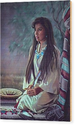Navajo Beauty Wood Print by Jean Hildebrant