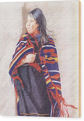 Navajo Girl Wood Print by Karen Clark