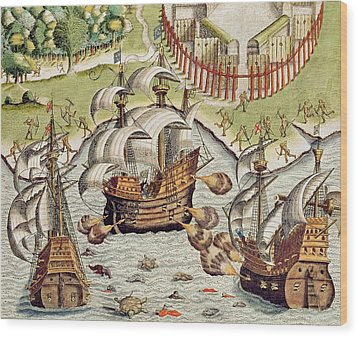 Naval Battle Between The Portuguese And French In The Seas Off The Potiguaran Territories Wood Print by Theodore de Bry