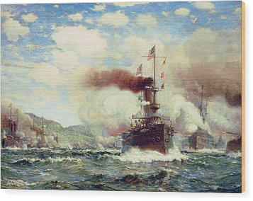 Naval Battle Explosion Wood Print by James Gale Tyler