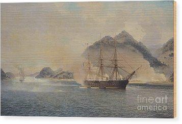 Naval Battle Of The Strait Of Shimonoseki Wood Print by Jean Baptiste Henri Durand Brager
