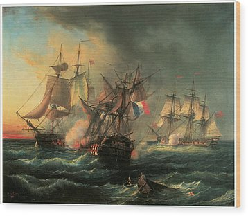 Naval Combat Between The Rights Of Man And The English Vessel Indefatigable And The Frigate Amazon Wood Print by Leopold Le Guen