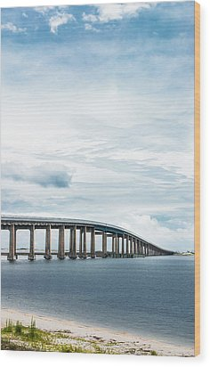 Wood Print featuring the photograph Navarre Bridge In Florida On The Sound Side by Shelby Young