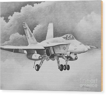 Navy Hornet Wood Print by Stephen Roberson