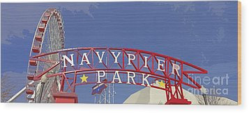 Navy Pier Wood Print by Mary Machare