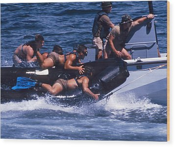 Navy Seals Practice High Speed Boat Wood Print by Michael Wood