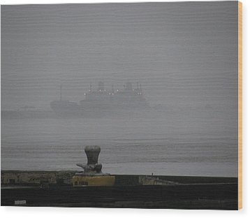Navy Ships In The Fog Wood Print by Tom Hefko