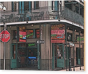 Nawlins Wood Print by David Bearden