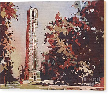 Wood Print featuring the painting Ncsu Bell-tower II by Ryan Fox