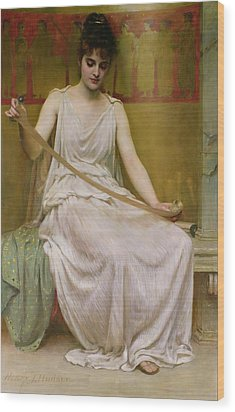 Neaera Reading A Letter From Catullus Wood Print by Henry John Hudson