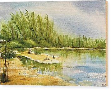 Near The Lake 4 Wood Print