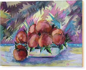 Nectarines Wood Print by Mindy Newman