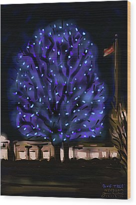 Wood Print featuring the painting Needham's Blue Tree by Jean Pacheco Ravinski
