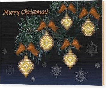 Needlework Christmas Ornaments II Wood Print by Stoyanka Ivanova