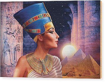 Nefertiti Variant 5 Wood Print by Andrew Farley