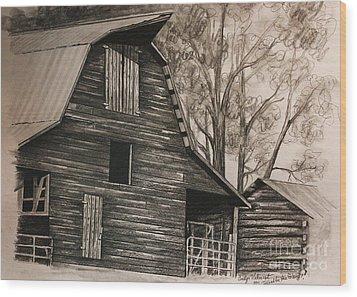 Neighborhood Barn Wood Print by Carolyn Valcourt