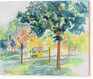 Neighborhood Bus Stop Wood Print by Andrew Gillette