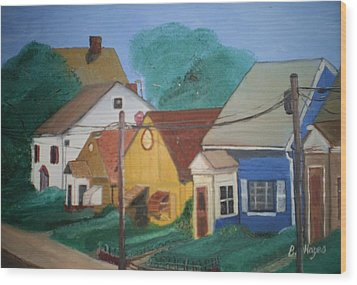 Wood Print featuring the painting Neighbors by Barbara Hayes