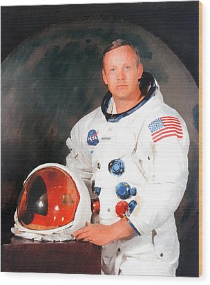Neil Armstrong Wood Print by Ericamaxine Price